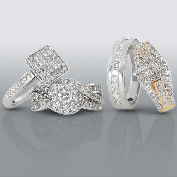 The engagement rings and wedding bands are available at Sears stores and on