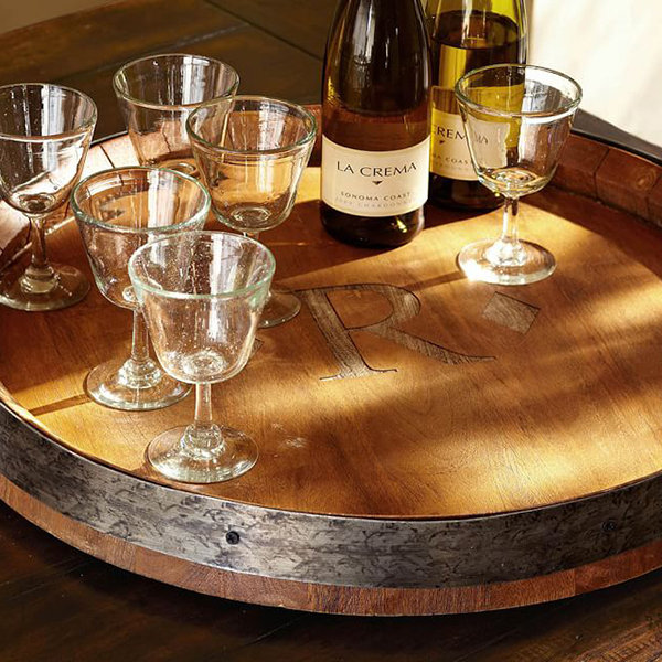 wood barrel tray