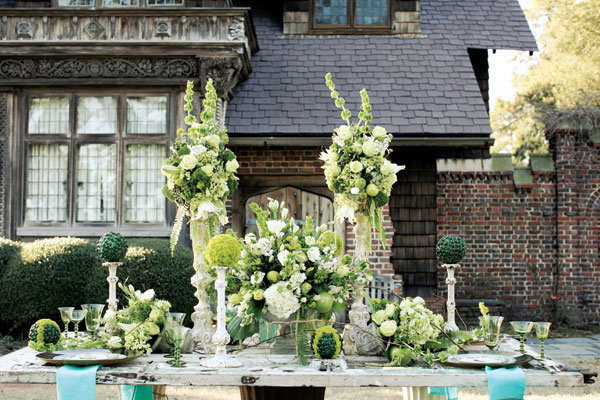 green and turquoise reception decor