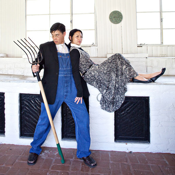 american gothic theme engagement photos