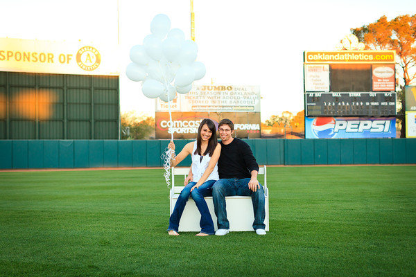 baseball theme engagement photos