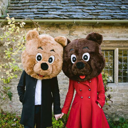 bear costumes engagement photos