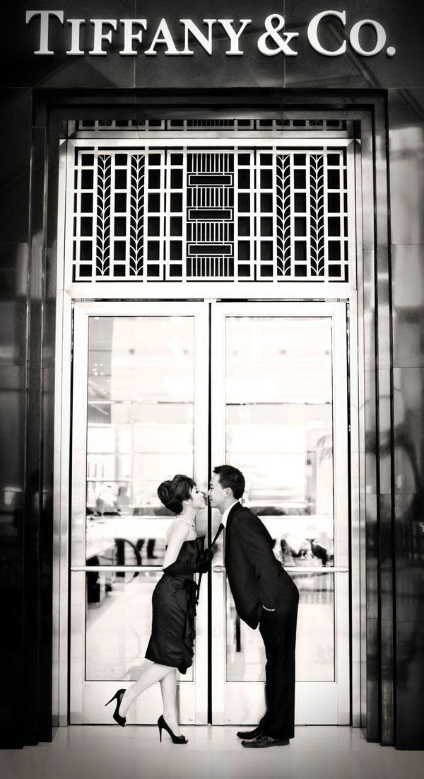 breakfast at tiffanys theme engagement photos