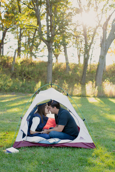 camping theme engagement photos