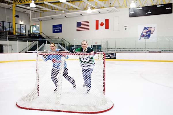 hockey theme engagement photos