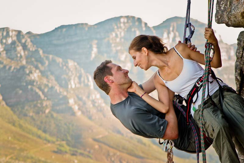 rock climbing engagement photos
