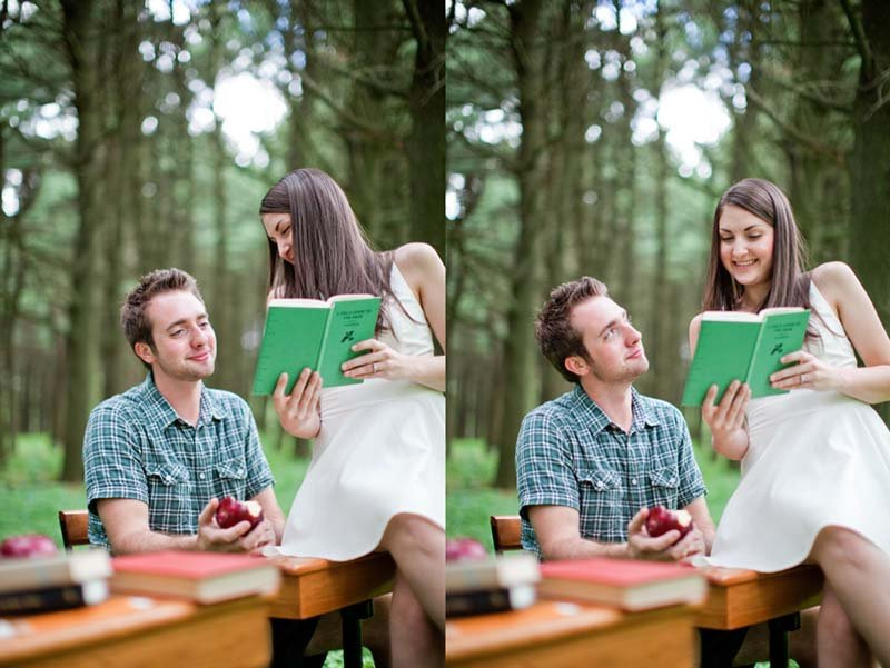 school theme engagement photos
