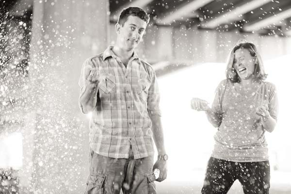 water balloons engagement photos