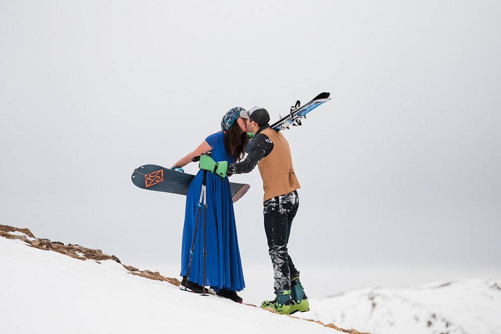 Snowboarding wedding photo