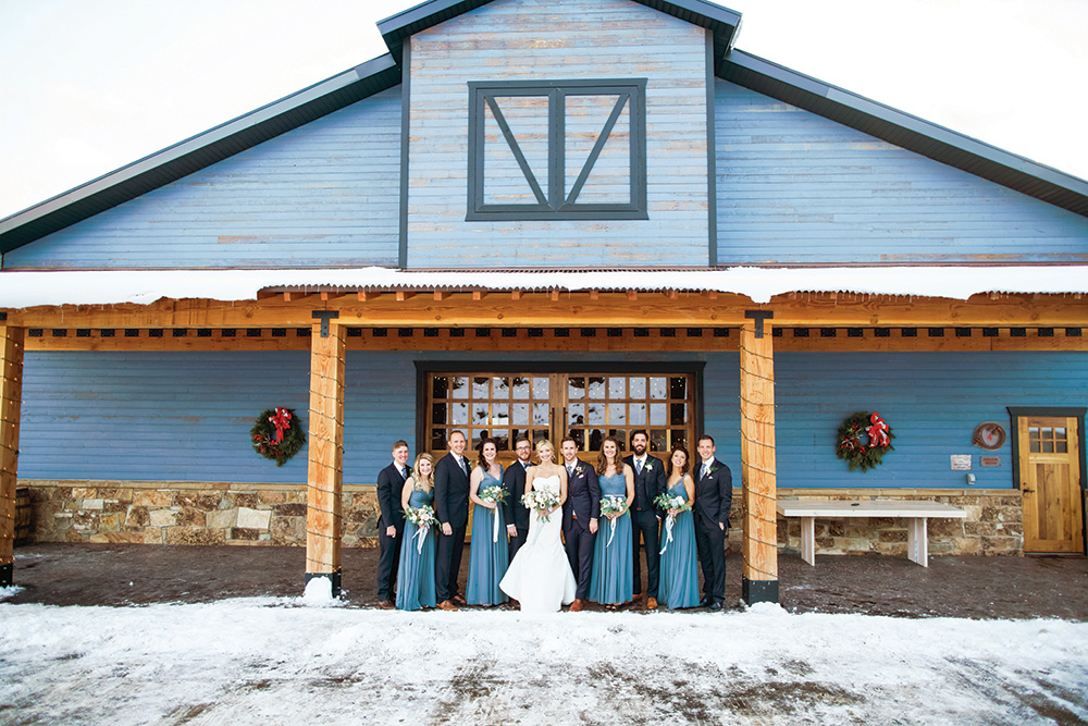 winter wedding bridal party
