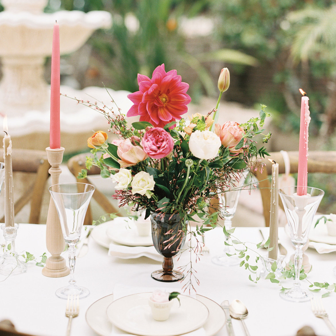 A romantic garden themed bridal shower bridalguide Wedding shower centerpieces