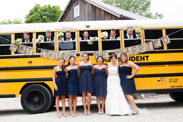 wedding transportation school bus