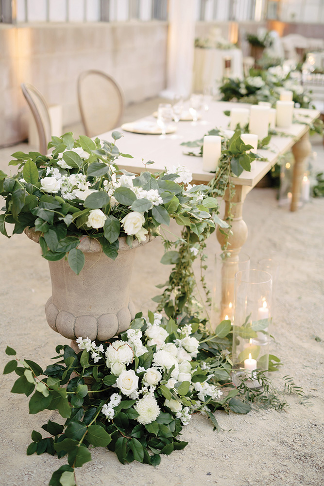 greenhouse wedding sweetheart table