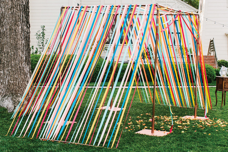 ribbon tent wedding ceremony decor