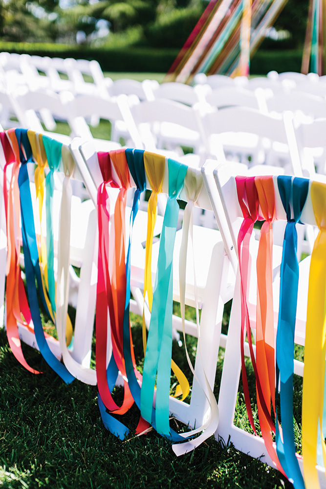 ribbon wedding chair decor