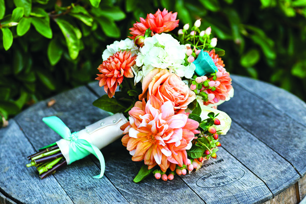 coral, blue and white bridal bouquet