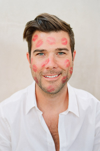 groom with lipstick marks