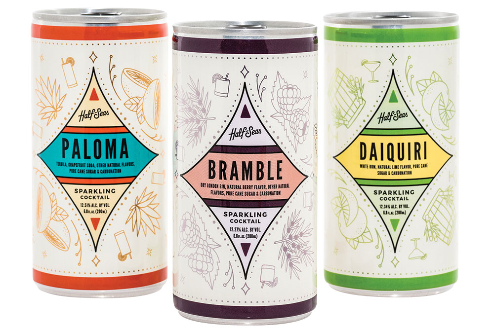 Tequila, gin and rum cocktails in a can