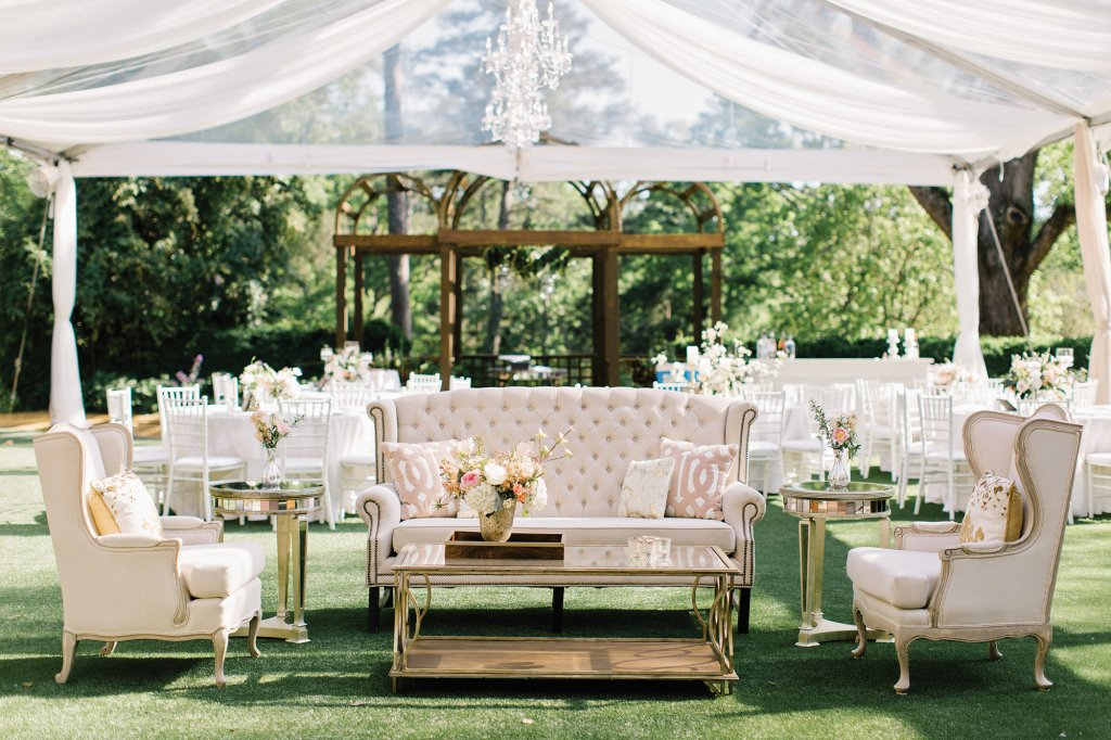 Garden Wedding. Beyond, A Sheer Blush Chiffon Canopy Lit With Crystal  Chandeliers Defined The Dining Space. A Plush Lounge Area With A  Blush Toned Tufted ...