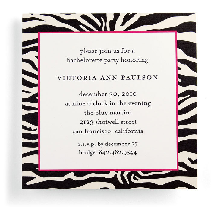 Zebraprint bachelorette party invitation 56 for 25 by Wedding Paper