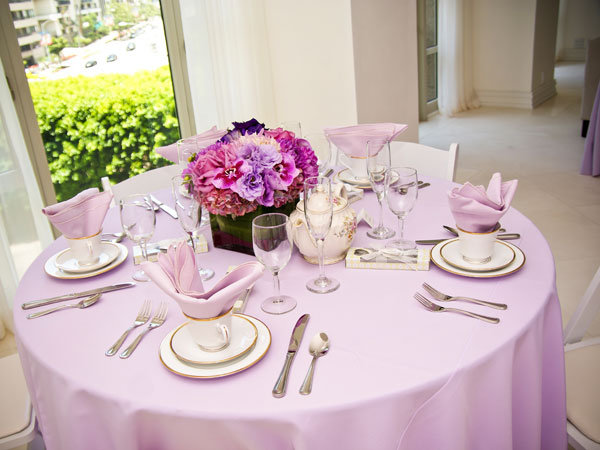 Purple themed bridal shower bridalguide Bridal shower table decorations