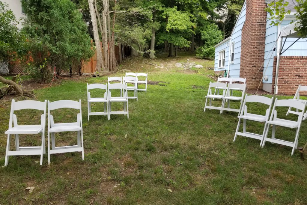 asymmetrical seating at wedding ceremony covid