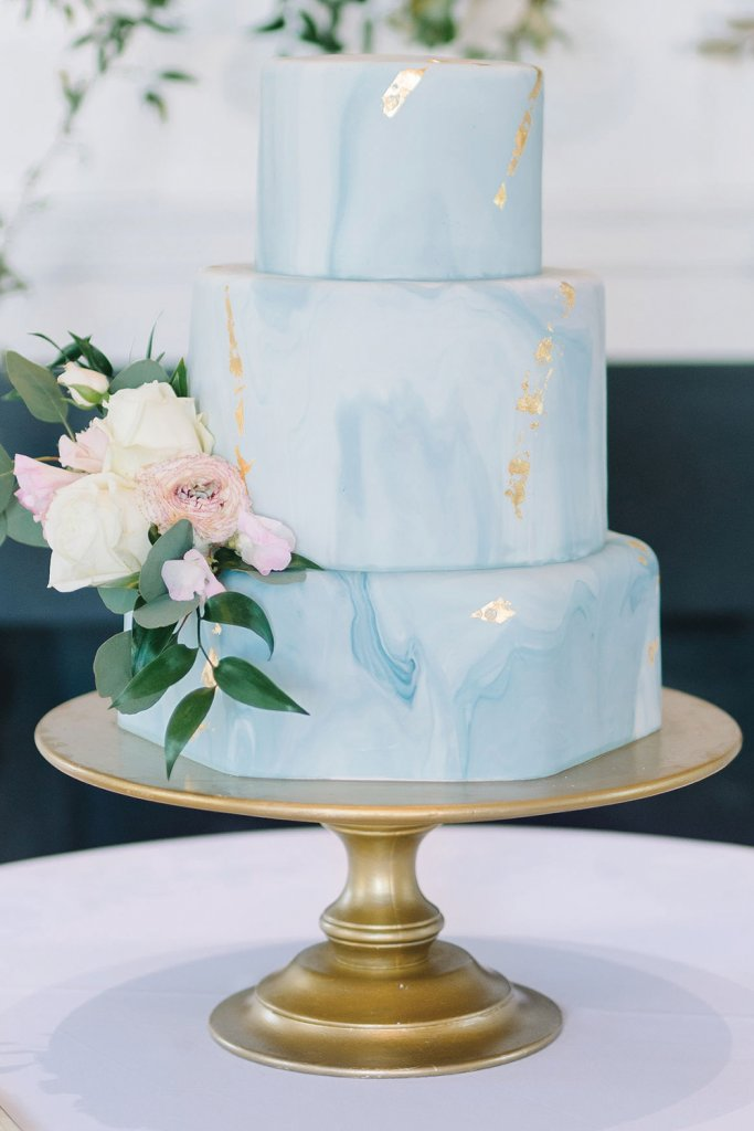 Blue wedding cake with gold flecks
