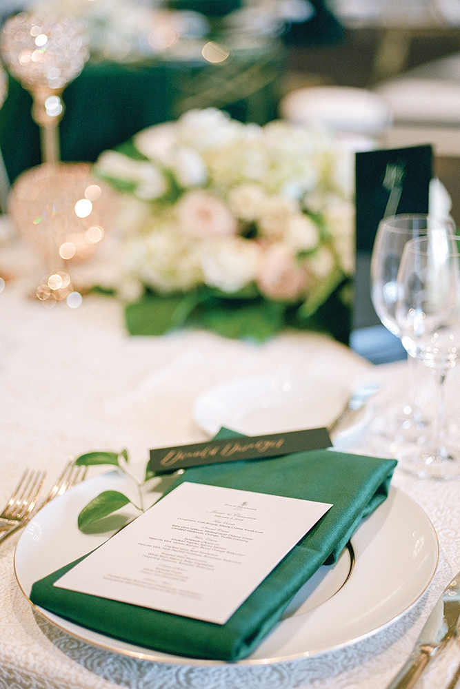 Green wedding place setting