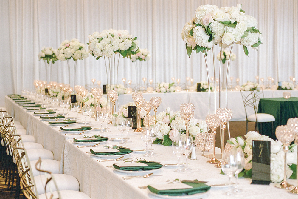 Green and white wedding reception decor