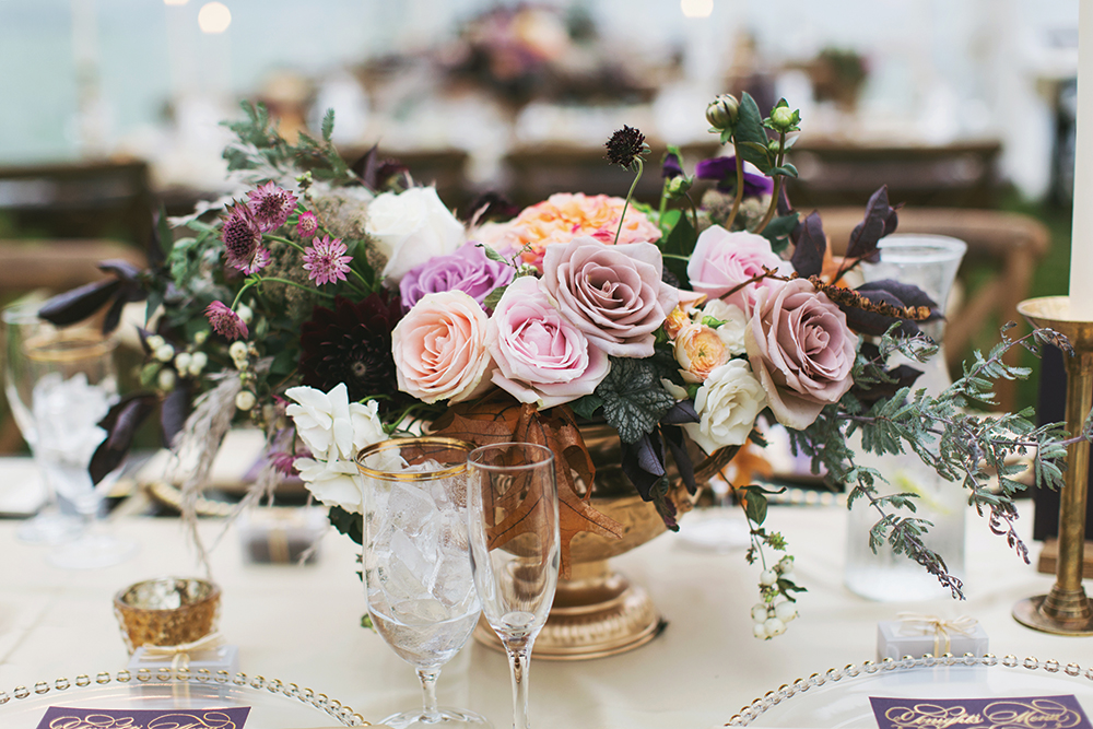 mauve wedding centerpiece in gold footed vase