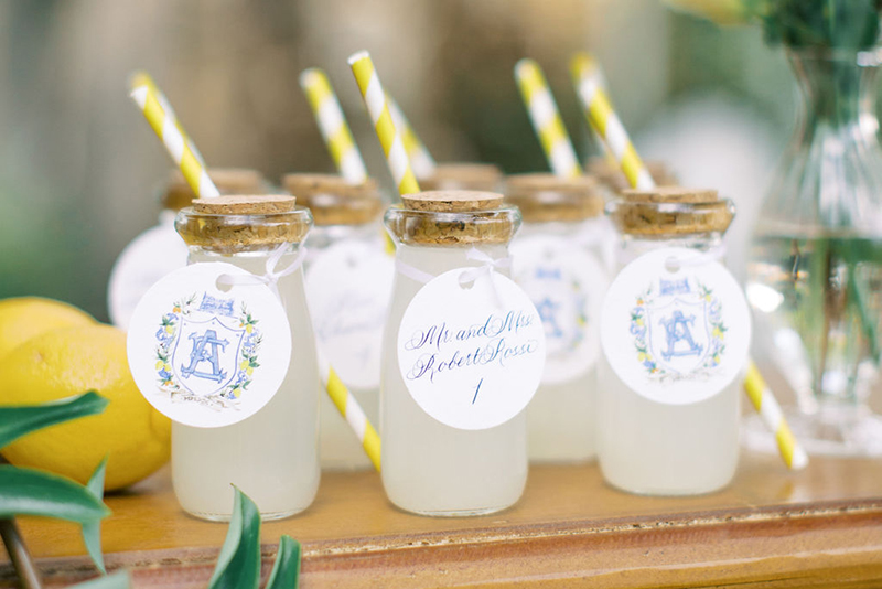 Lemonade bottle wedding escort card