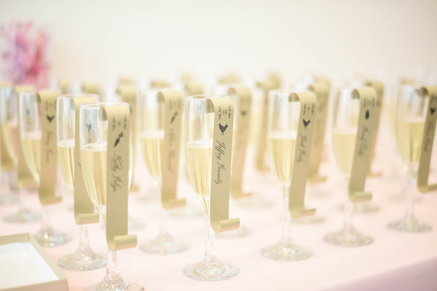 Scroll wedding escort card