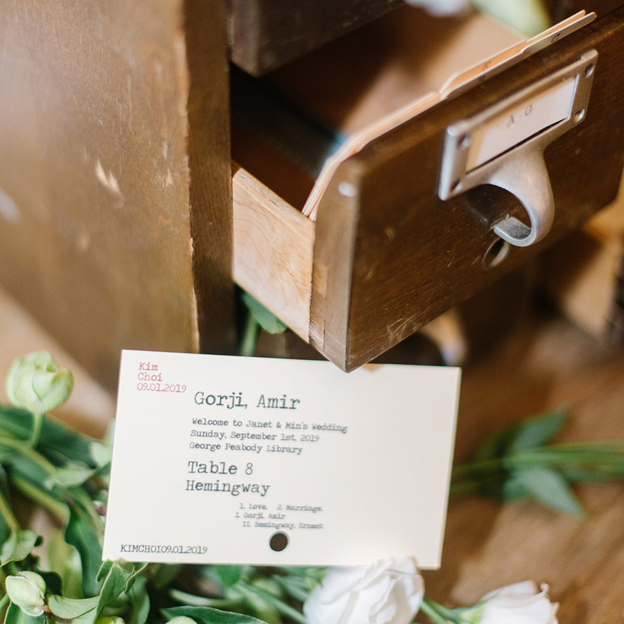 Library card wedding escort card