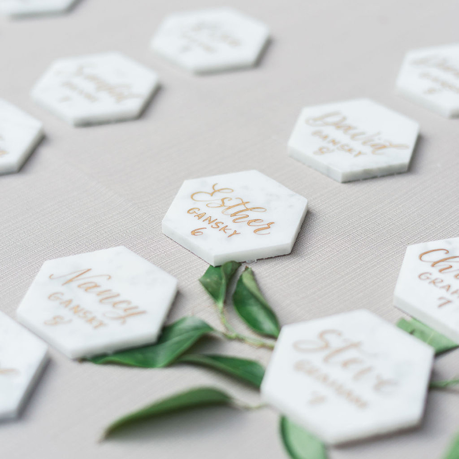 Marble tile wedding escort card