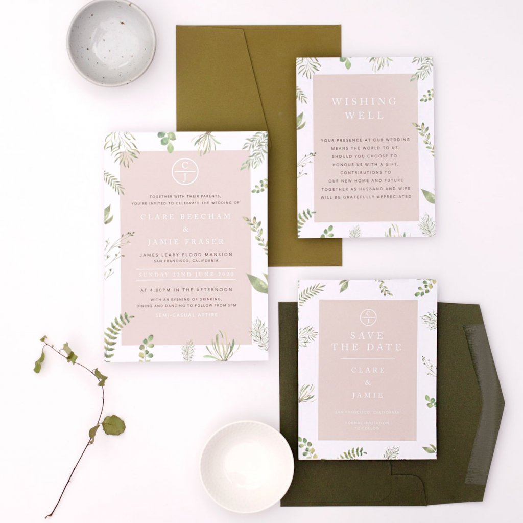 paperlust botanical wedding invitations