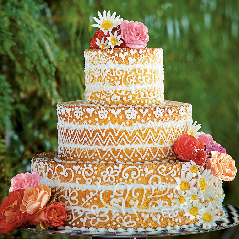 Naked wedding cake with zigzag design