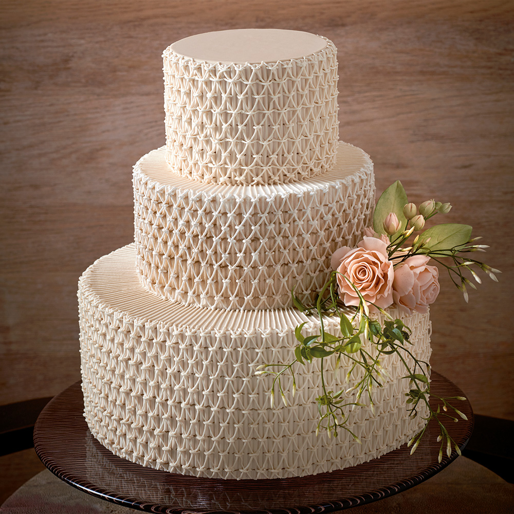 Smocked wedding cake