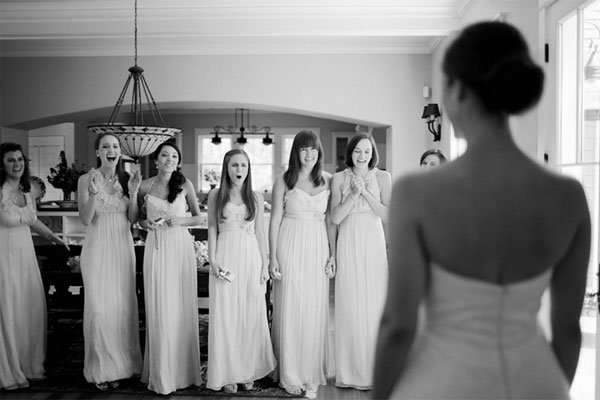 Wedding first look with bridesmaids