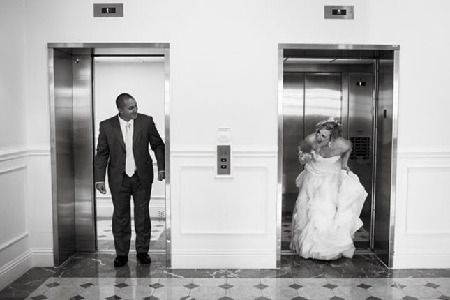 Wedding first look in an elevator