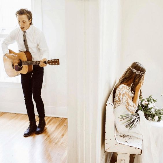 Wedding first look with guitar