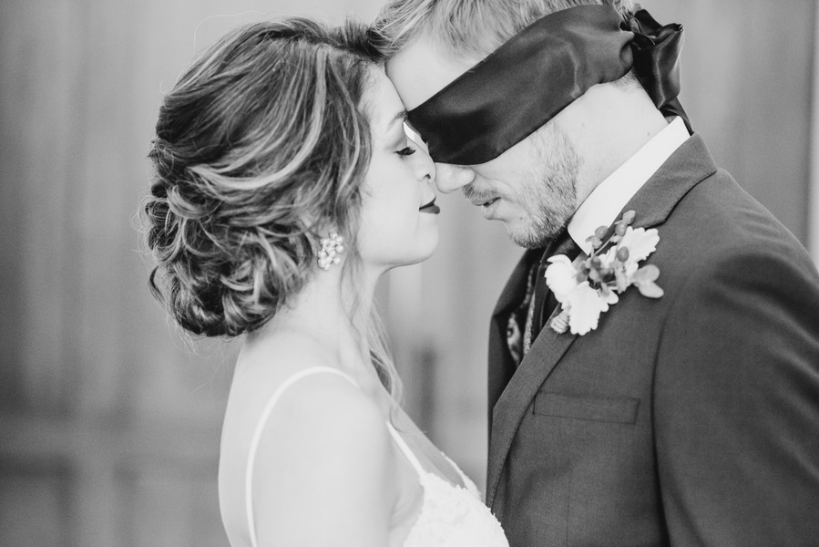 Blindfolded wedding first look