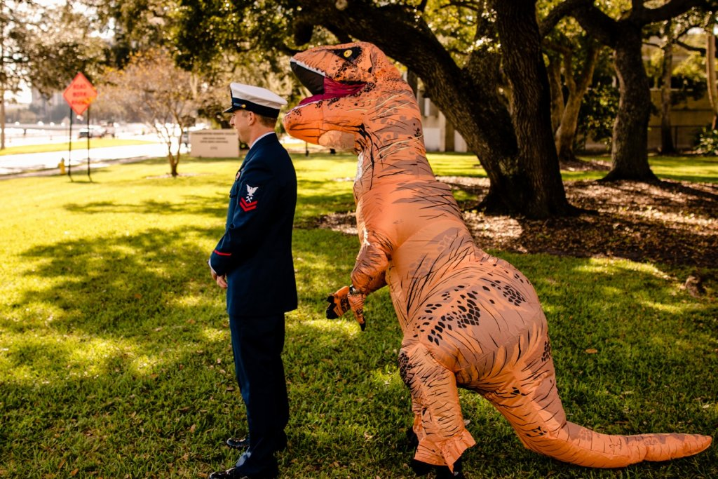 Trex costume wedding first look