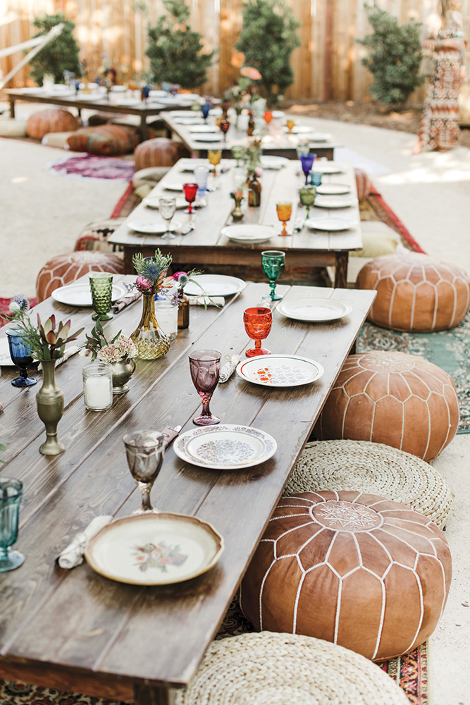 Intimate wedding reception with floor seating