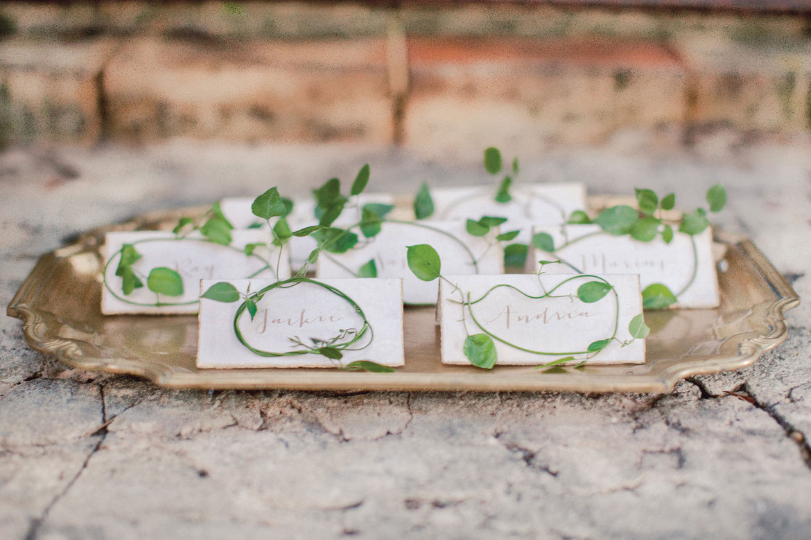 escort cards with greenery