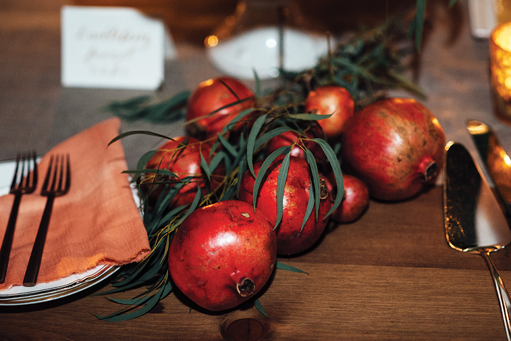 fall wedding pomegranate decor