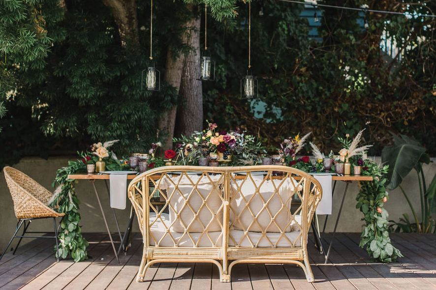 boho chic outdoor wedding reception
