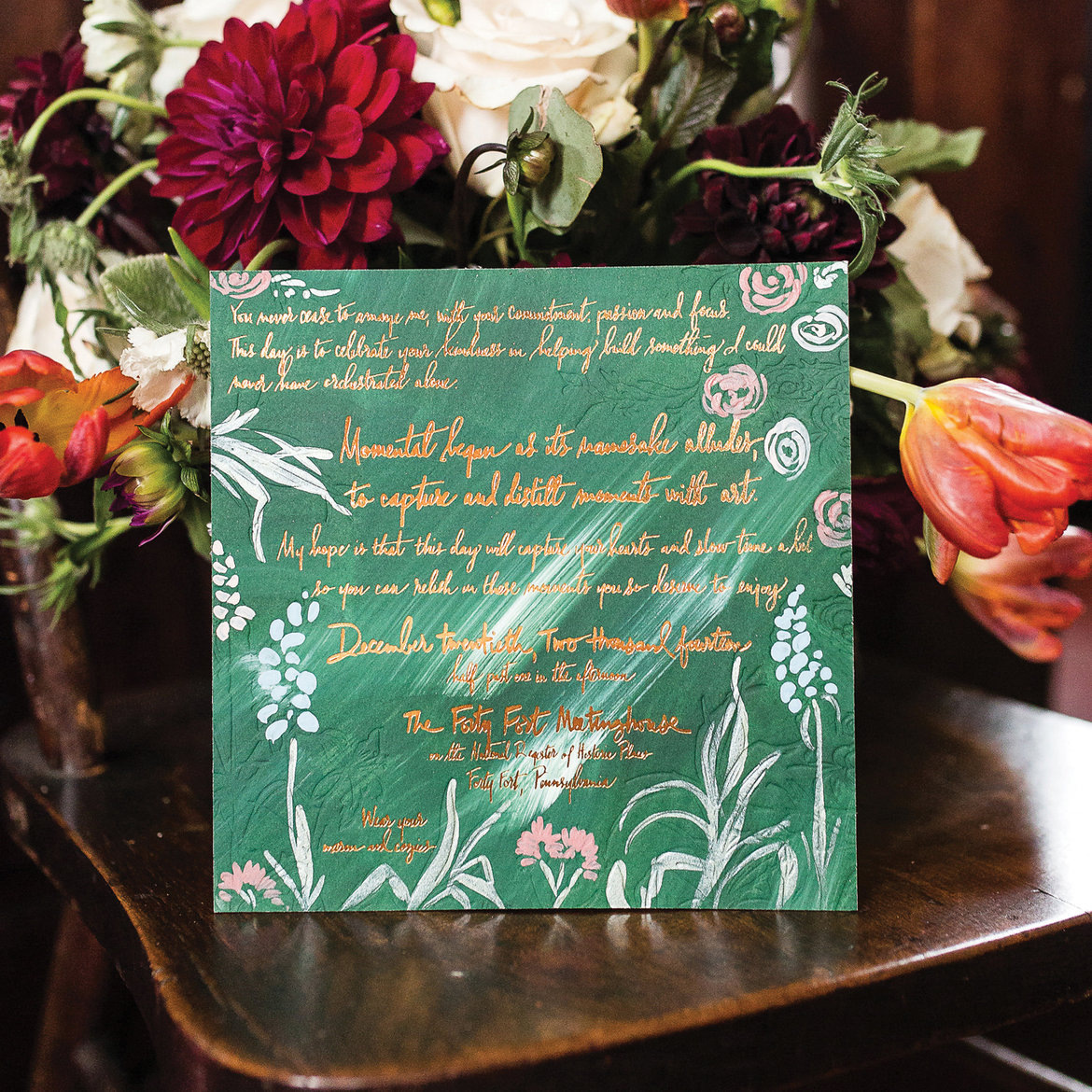 gold foil script wedding invitations