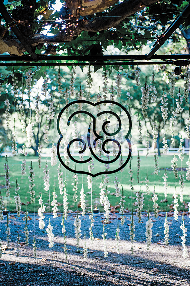 Garden wedding monogram decoration