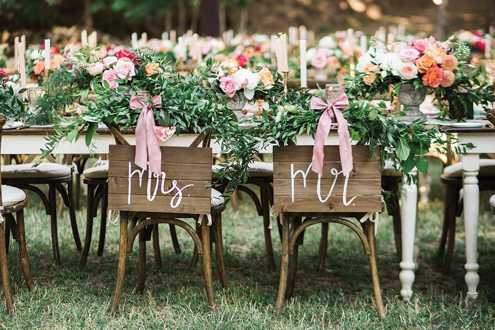 Mr and Mrs Wedding Chair Signs