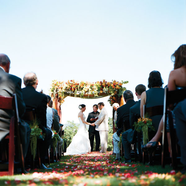 Summer wedding ceremony the couple exchanged vows under a frame draped